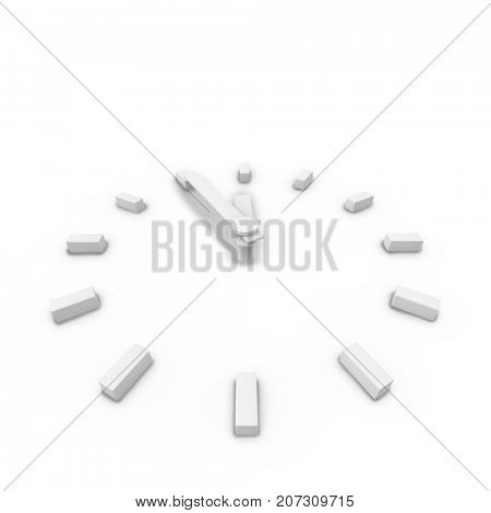 Abstract white clock 3D business background. 3D illustration.