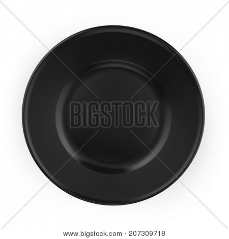 Clean flat black plate with shadow isolated in white background. 3D illustration.