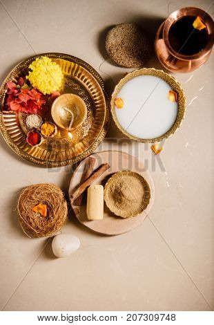 Traditional indian mix herbal and sandalwood powder bath scrub. An age-old Hindu custom of having special bath on an auspicious or festive occasions.