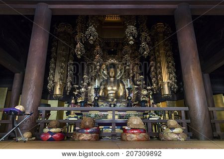 Kyoto, Japan - May 18, 2017: Golden Buddha in Chion-In Temple Kyoto, Japan. Chion-in in Higashiyama-ku, Kyoto, Japan is the headquarters of the Jodo-shu