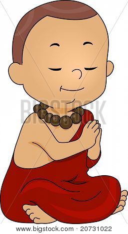 Illustration of a Little Monk Praying