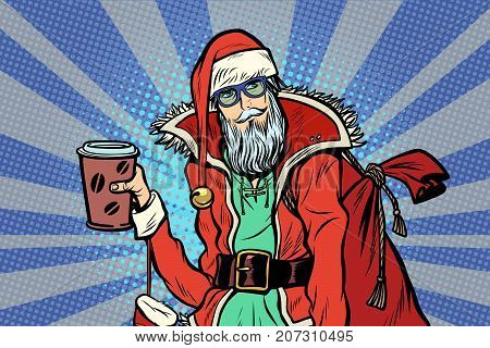 close-up Hipster Santa Claus with a Cup of coffee. Christmas holiday and New year. Pop art retro vector illustration