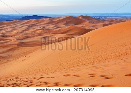 Sunrise In Erg Chebbi Sand Dunes Near Merzouga, Morocco