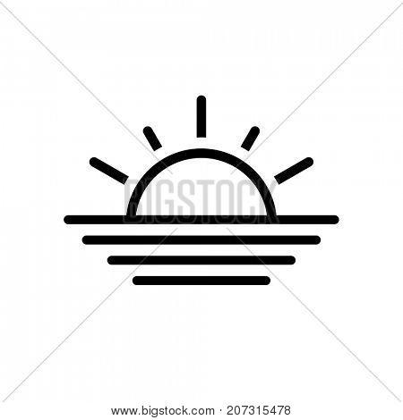 Black thin line sun icon isolated on white