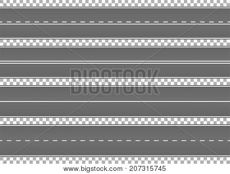 Road, street with asphalt. Highway. Way for transport. Isolated.Speedway.Vector illustration.