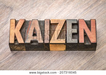 Kaizen - Japanese continuous improvement concept - word abstract in vintage letterpress wood type