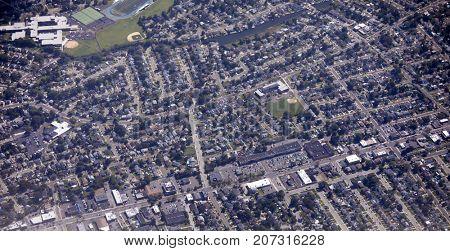 Aerial view of the Oceanside neighborhood of Long Island, New York