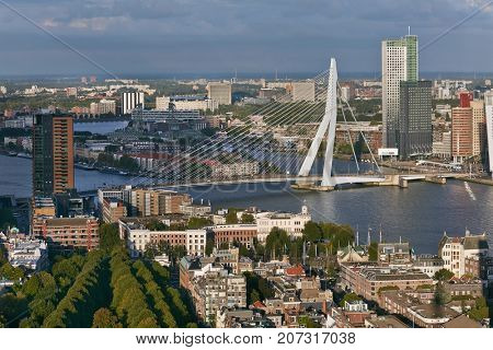 Rotterdam city center high angle view.