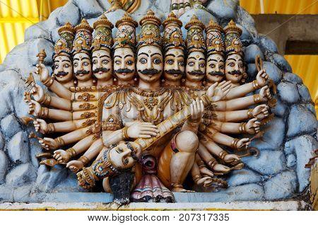 Ancient Hinduism god sculpture on Sri Lanka