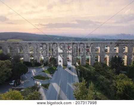 Aerial View of Uzunkemer Aqueduct in Istanbul