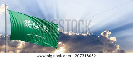 Saudi Arabia waving flag on blue sky. 3d illustration