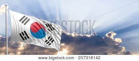 South Korea waving flag on blue sky. 3d illustration