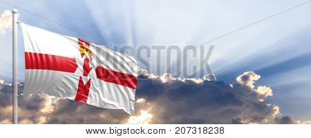 Northern Ireland waving flag on blue sky. 3d illustration