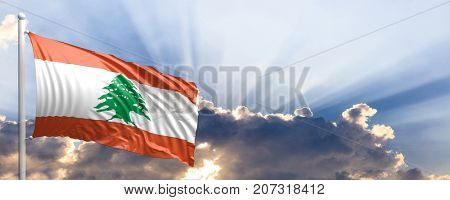 Lebanon waving flag on blue sky. 3d illustration