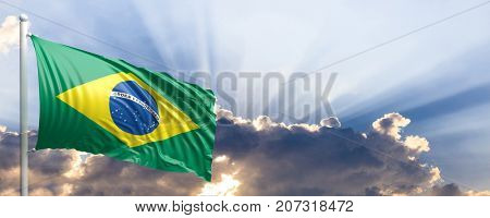 Brazil waving flag on blue sky. 3d illustration