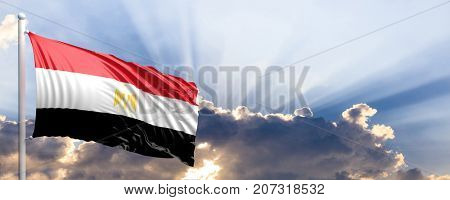 Egypt waving flag on blue sky. 3d illustration