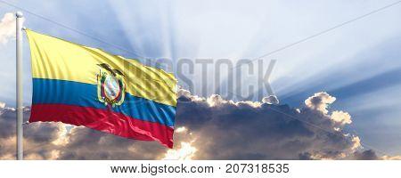 Ecuador waving flag on blue sky. 3d illustration