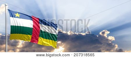 Central African Republic waving flag on blue sky. 3d illustration