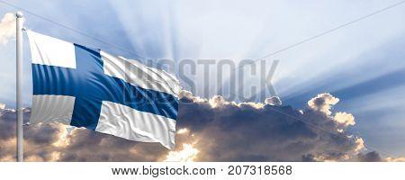 Finland waving flag on blue sky. 3d illustration