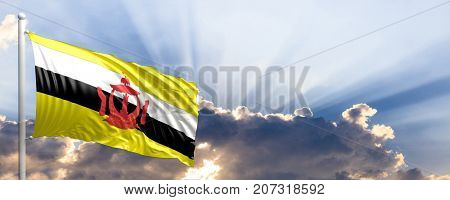 Brunei waving flag on blue sky. 3d illustration