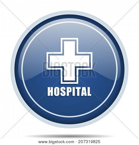 Hospital blue round web icon. Circle isolated internet button for webdesign and smartphone applications.
