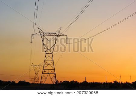 High voltage transfer lines and pylons