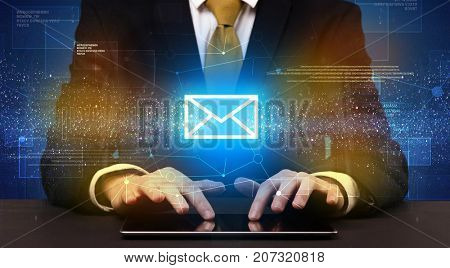 Businessman in suit typing with communication, mailing concept around