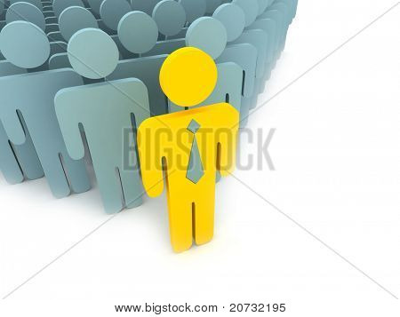 yellow leader with people