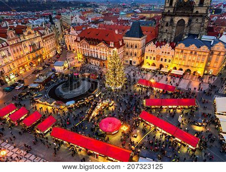 PRAGUE, CZECH REPUBLIC - DECEMBER 10, 2015: View from above on traditional Christmas market at Old Town Square illuminated and decorated for winter holidays in Prague - capital of Czech Republic.