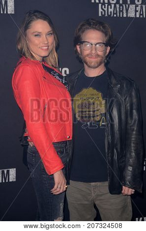 LOS ANGELES - SEP 29:  Clare Grant, Seth Green at the Knott's Scary Farm and Instagram Celebrity Night at the Knott's Berry Farm on September 29, 2017 in Buena Parks, CA