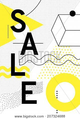 Universal trend poster with bright bold geometric yellow elements, chaotic composition in restrained sustained tempered style. Easy editable clipping mask. Magazine, leaflet, ad, typography, print