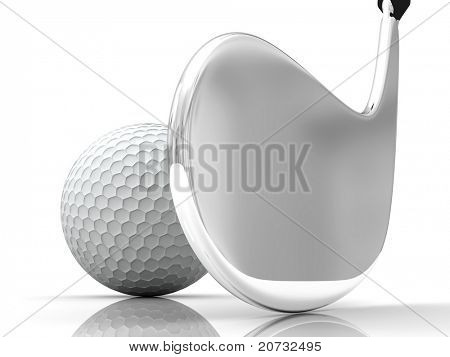 golf ball and rabble isolated on white