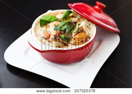 Chicken chasseur, traditional French casserole with mushrooms, shallots and herbs