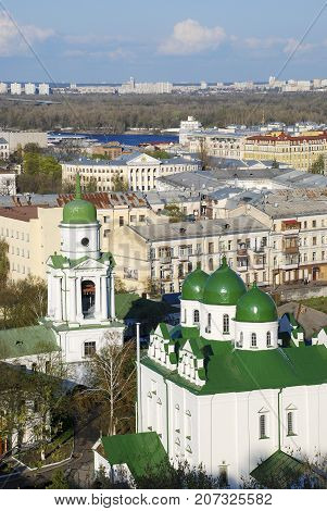 View of the Florovsky Monastery and Longer district in Kiev. Ukraine