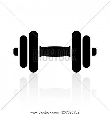 Black dumbbell icon with reflection on white background