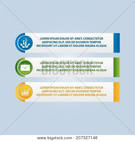 Vector Illustration. An Infographic Template With 3 Steps And An Image Of Three Rectangles. Use For
