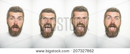 Man with long beard and mustache on surprised happy and angry face. Emotion set of bearded man. Guy collage with different emotions isolated on white. Barber fashion and beauty. Feeling and emotions.