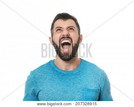 Angry man on white background