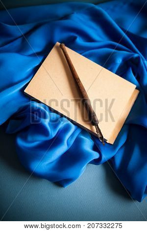 poetry& creativity concept background on blue background
