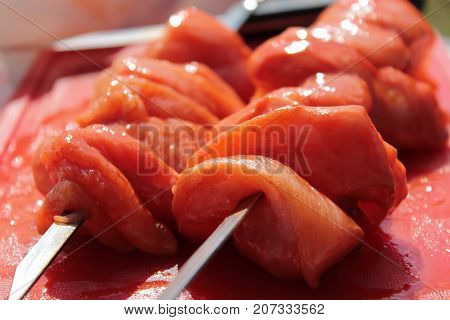 Juicy and freshly cooked raw meat soaked in sauce. semi-finished product for cooking shish kebab