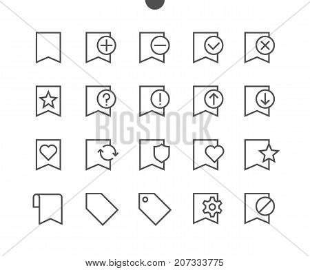 Bookmarks Tags UI Pixel Perfect Well-crafted Vector Thin Line Icons 48x48 Ready for 24x24 Grid for Web Graphics and Apps with Editable Stroke. Simple Minimal Pictogram Part 1-3