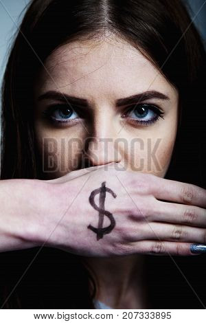 I Will Not Tell You Anything. Silence Tabu Secret Mystery Communication Concept. Woman Covering The