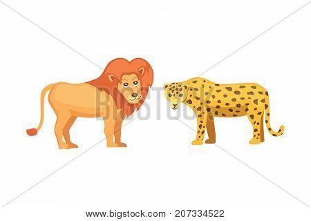 lion and savanna animals in cartoon style