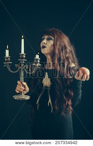 Halloween Old Woman With Long Red Hair