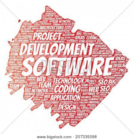Conceptual software development project coding technology paint brush word cloud isolated background. Collage of application web design, seo ideas, implementation, testing upgrade concept