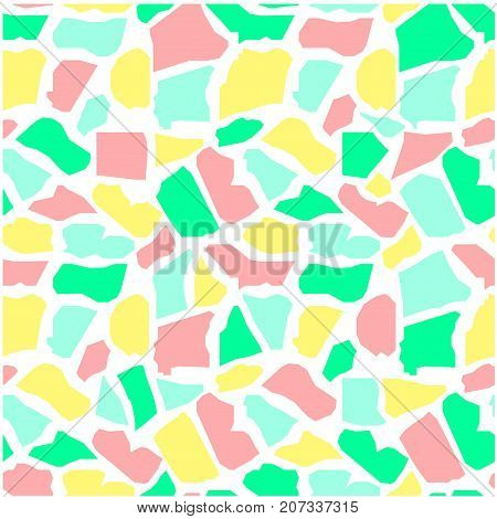 Seamless abstract colorful giraffe skin texture on white stock vector illustration
