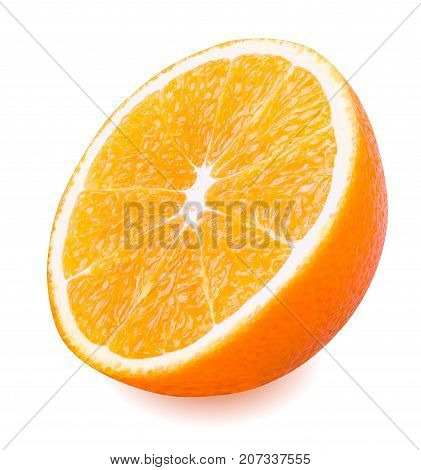 Isolated orange fruit. Orange fruit cut in half isolated on white background with clipping path.