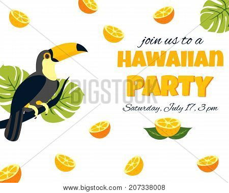 Tropical Hawaiian Poster with toucan. Party template Invitation, banner card.
