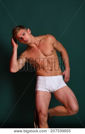 Guy Or Sexy Macho With Strong Muscles Stands On Leg
