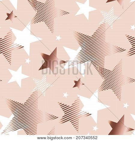 rose gold color abstract geometry star vector illustration.  tender elegant celebration style seamless pattern design